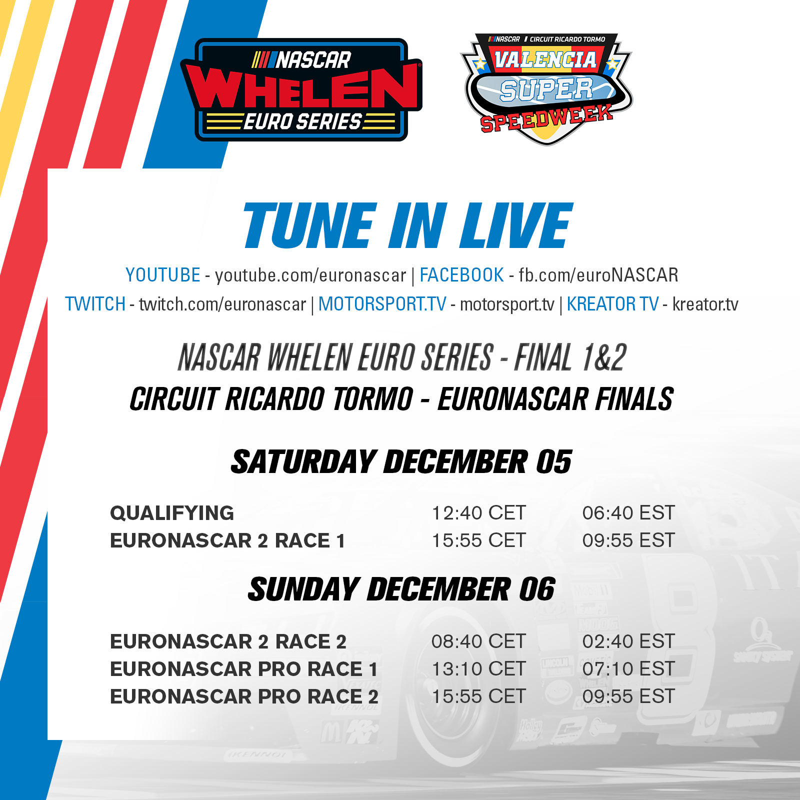 Streaming Schedule Square Euronascar Finals 2020
