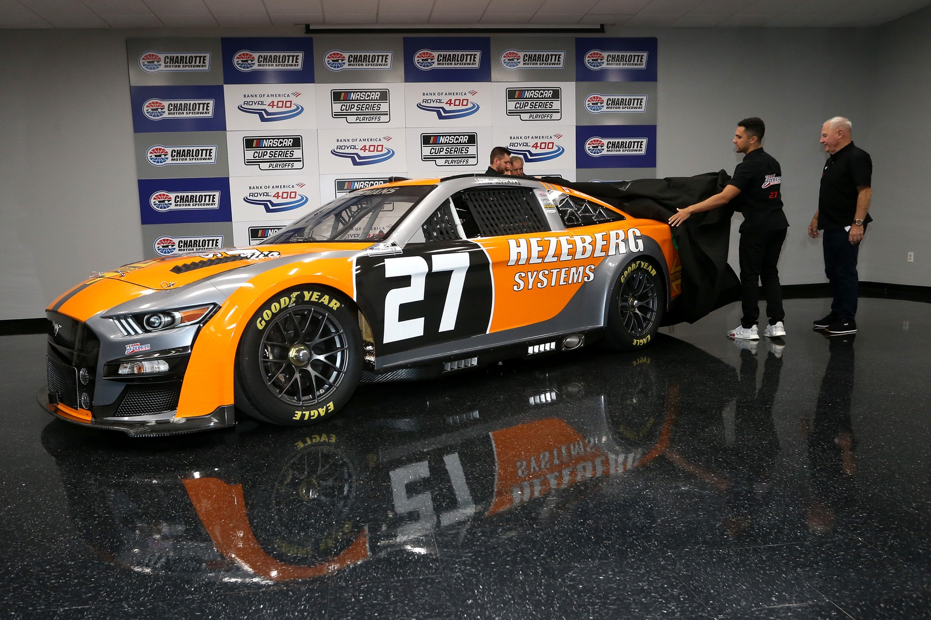 CONCORD, NORTH CAROLINA - OCTOBER 09: Driver Loris Hezemans, unveils the #27 Next Gen Team Hezeberg car he will drive in selected races of the 2022 NASCAR Cup Series during a press conference held prior to the NASCAR Xfinity Series Drive for the Cure 250 presented by Blue Cross Blue Shield of North Carolina at Charlotte Motor Speedway on October 09, 2021 in Concord, North Carolina. (Photo by Brian Lawdermilk/Getty Images) | Getty Images